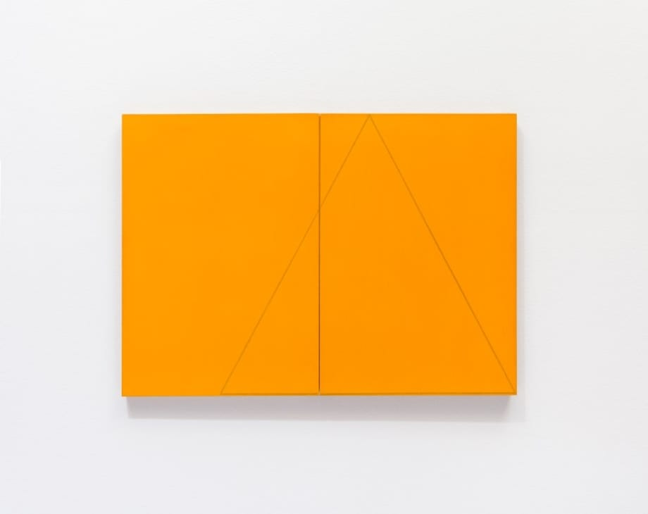 A triangle within two rectangles orange (diptych) by Robert Mangold