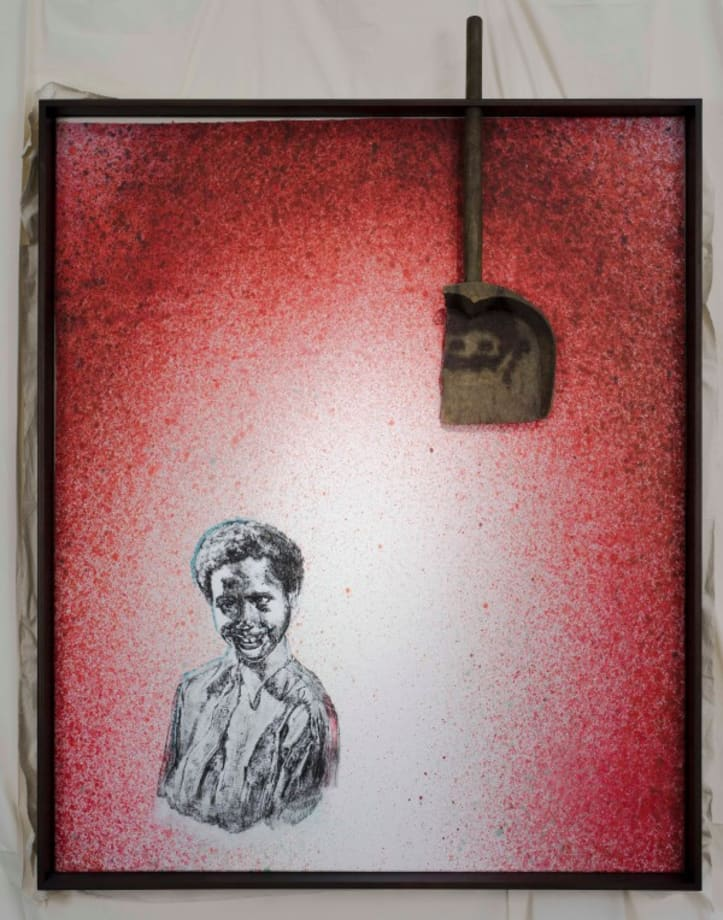 Class Photo. Backdrop. Red by Edgar Arceneaux