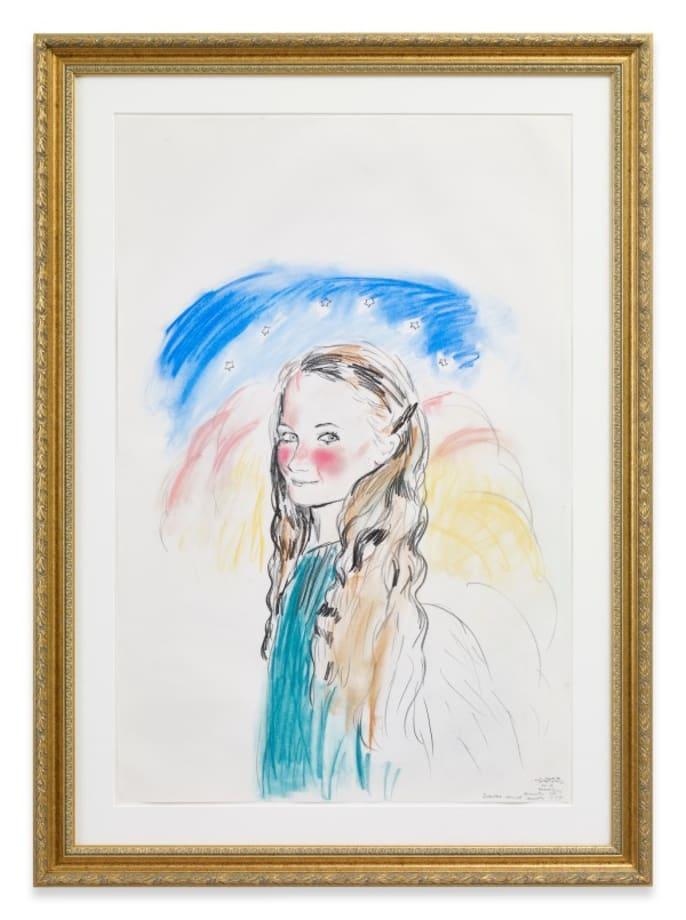 the Annunciation Assumption, by Leonardo da Vinci (cheeks like Gainsborough girl with milk jug + pig) by Karen Kilimnik