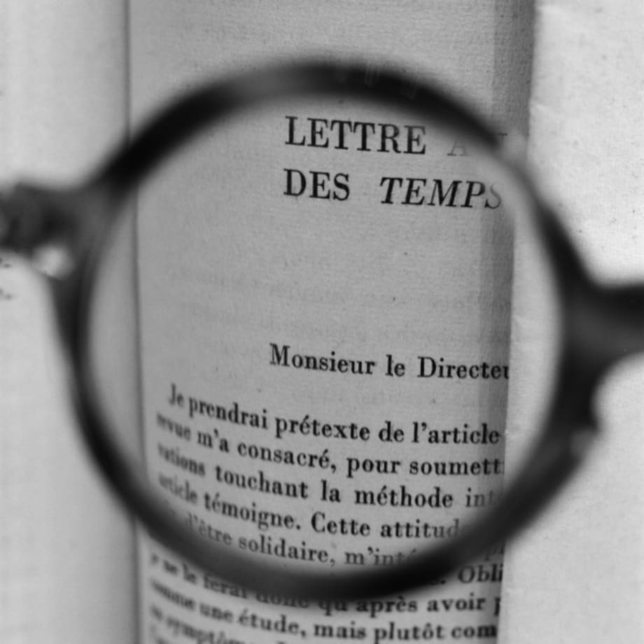 Sartre's glasses - Viewing a letter by Albert Camus addressed to Sartre when he was the director of Les Temps Moderne by Tomoko Yoneda