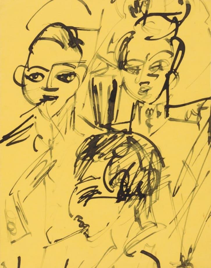 Drei Offiziere beim Mittagessen (Kohnstamm Sanatorium) (Three Officers at Lunch (Kohnstamm Sanatorium)) by Ernst Ludwig Kirchner
