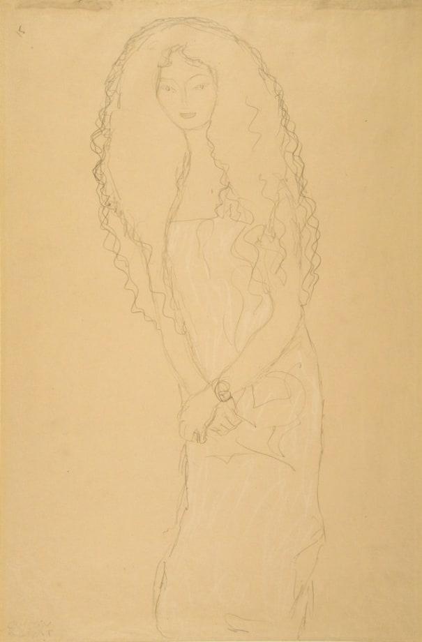 Frau mit langen gewellten Haaren (Woman with Long Wavy Hair) by Gustav Klimt
