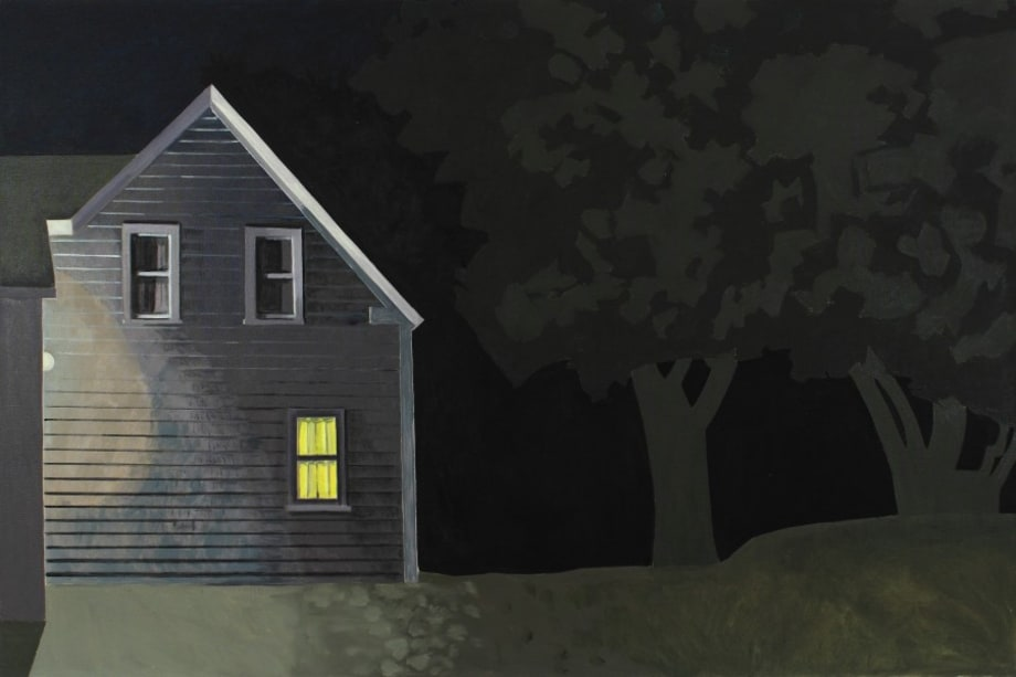 Night House with Lit Window by Lois Dodd