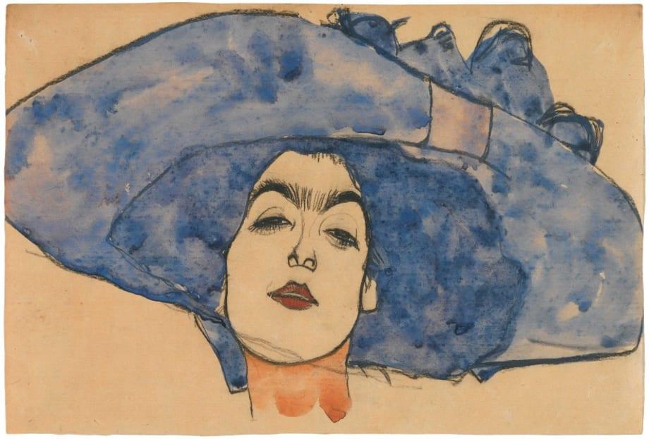 Eva Freund in Blue Hat by Egon Schiele