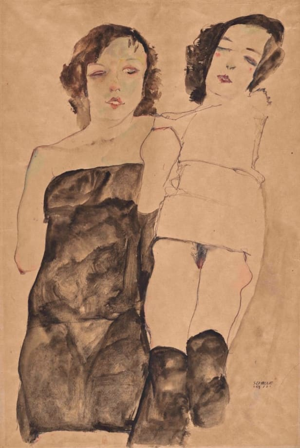 Two Girls by Egon Schiele