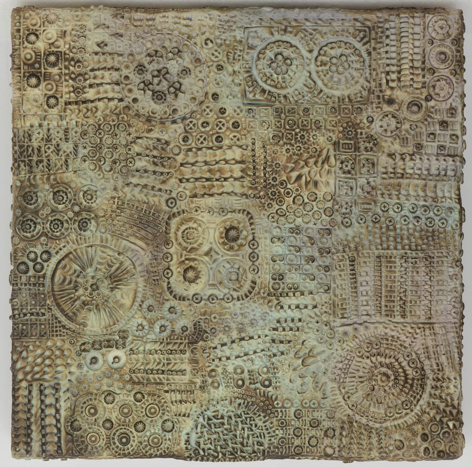 Paper tapestry, with seeped and baked instances by Pae White